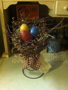 pinterest primitive easter crafts   Primitive Easter nest on rusty spring   Nodders   Pinterest