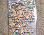 Baltimore Map Bookmark Maryland page marker Gift Book Lover East Coast Stocking Stuffer Librarian Teacher Bookclub Christmas Back school