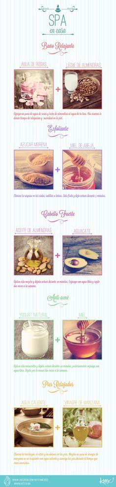 El spa en casa con remedios caseros y naturales. #infografia #belleza