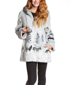 Love this Gray Moose Faux Fur Coat - Women & Plus by Black Mountain Apparel on #zulily! #zulilyfinds