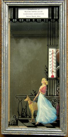 Jules Erbit illustration, advertising mirror + thermometer