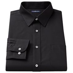 Men's Croft & Barrow® Fitted Solid Broadcloth Point-Collar Dress Shirt, Size: 15.5-34/35, Black