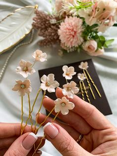 Floral hair pins by CharmBrideAccessory. Small floral hairpin, Set hairpins, Blush Hair piece , Bridal hair pieces. It will perfectly complete your wedding look. Suitable for romantic curls and collected hairstyles. #weddingideas #weddinghairstyle Wedding Accessories For Bride, Wedding Hair Accessories, Rustic Wedding Hairstyles, Bride Hairstyles, Bridal Comb, Bridal Hair Pins, Romantic Curls, Wedding Decor, Wedding Ideas