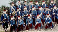 World War I, French infantry unit, ca. 1914. Note the French still wore in red. The high command sooner or later realised that the way to conduct a war had been changed due to industrialisation. The heavy toll forced them to change the uniform colour.