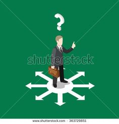 Choice right solution flat 3d isometry isometric business concept web vector illustration. Businessman on crossroads choose way out and question mark below had. Creative people collection.