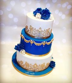Wedding Cakes Gold Navy Royal Blue Best IdeasYou can find Royal blue and more on our website. Royal Blue Cake, Royal Blue Wedding Cakes, Blue Gold Wedding, Ivory Wedding Cake, Royal Blue And Gold, Cool Wedding Cakes, Beautiful Wedding Cakes, Royal Royal, Dress Wedding