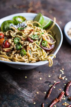 Really nice recipes. Every hour. • Firey Schezwan Peanut and Chili Zucchini Noodles....