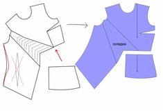 Выкройка лифа. Перевод нагрудной вытачки | Готовые выкройки и уроки по построению на Выкройки-Легко.рф T Shirt Sewing Pattern, Dress Sewing Patterns, Clothing Patterns, Pattern Draping, Bodice Pattern, Sewing Clothes Women, Sleeves Designs For Dresses, Work Dresses For Women, Fashion Sewing