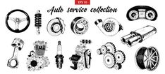 Hand Drawn Sketches Of Auto Car Service Elements Car Vector, Icon Set, Metal, Houston, How To Draw Hands, Sketches, Graphic Design, Hand Drawn, Vector Freepik