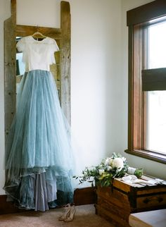 Handpainted Blue Wedding Dress | photography by http://heathernanphoto.com/