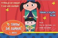 convite Show da Luna com personagens abrindo cortinas vermelhas