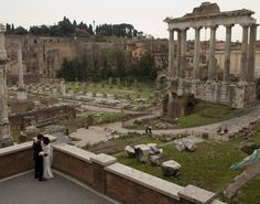 Wedding In The Most Beautiful Place In The World: Bride and Groom at the Roman Forum. Magnificent place to start your life together. #travel #italy #rome