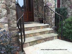 Entrance Iron Railings Raleigh NC Patio Stairs, Iron Railings, Front Steps, Front Entrances, Front Porch, Condo, Deck, Exterior, Yard Ideas