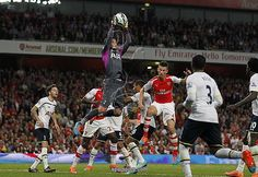 Hugo Lloris catches the ball during the English Premier League football match between Arsenal and Tottenham Hotspur at The Emirates Stadium in London on on September 27, 2014.