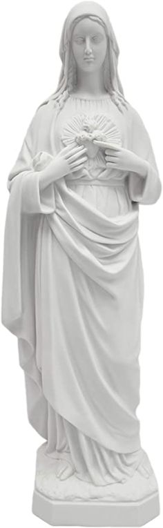 """Amazon.com: 25"""" Immaculate Heart of Mary Italian Catholic Religious Statue Sculpture Made in Italy Indoor Outdoor Garden: Kitchen & Dining Barn Wood Frames, Wood Picture Frames, Picture On Wood, Italian Statues, Lady Of Lourdes, Garden Online, Catholic Gifts, Home Decor Furniture, Virgin Mary Statue"""