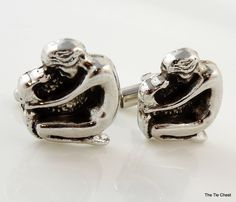 Super Cool! Silver Tone Snake Charmer Cufflinks  | The Tie Chest