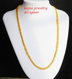 Real looking 22 ct gold plated Chain - necklace party wear kapa indian jewelry Indian Jewelry, Party Wear, Beaded Necklace, Chain, Gold, How To Wear, Ebay, Beaded Collar, Pearl Necklace