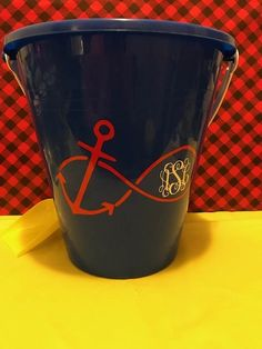 Personalized Sand Beach Bucket Pail, Anchor Beach Pail, Monogram Beach Pail by ChickenCoopGifts on Etsy