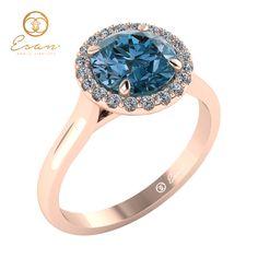 Inel de logodna din aur roz cu diamant albastru ES82 Aur, Engagement Rings, Watches, Jewelry, Fashion, Enagement Rings, Moda, Wedding Rings, Jewlery
