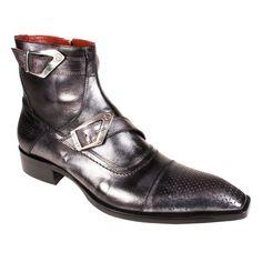 Jo Ghost Men's Designer Shoes Metallic Black Leather Boots (JG1545)