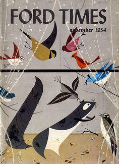 """Charley Harper illustration for front cover of """"Ford Times"""" November 1954 Charley Harper, City Poster, Arte Popular, Modern Artists, Book Illustration, Magazine Illustration, Digital Illustration, Gravure, Art Plastique"""