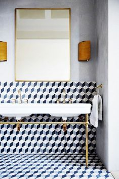 Deco Tiled Bathroom | Natural Brass