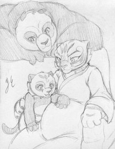 Po and pregnant Tigress with their half tiger and half panda cub Tigress Kung Fu Panda, Po Kung Fu Panda, Po And Tigress, Arte Disney, Disney Art, Disney Movies, Fight Me Meme, Wolf Spirit Animal, Nickelodeon