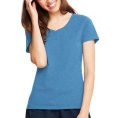 Hanes Women's Plus-Size X-temp Short Sleeve V-neck, Size: 2XL, Blue