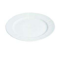 Fine White Embossed China from Rentals Unlimited: Dinner Plate = $1 each; Salad/Dessert = $1 each; B&B = $1 each