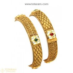 22K Gold 'Antique' Kada with Fancy Stones - Set of 2 (1 Pair) - 235-GK539 - Buy this Latest Indian Gold Jewelry Design in 52.350 Grams for a low price of $2,924.25