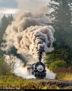 Spectacle at Yacolt Creek. With the morning sun highlighting her plume, Crossett Western makes a rather spectacular start with her short freight, just a hundred yards or so south of the tiny wooden trestle at Yacolt Creek on October Photo by Kevin Madore Train Vacations, Clark County, Old Trains, Morning Sun, Steam Engine, Steam Locomotive, Diorama, Motorbikes, Yards