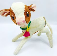 Vintage Ideal Toy Corp Plush Calf Cow Standing Stuffed Animal #IdealToys