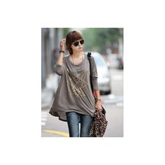 Round Neck Grey Entagram Printing Long T-shirt @T240 - $12.44 :... via Polyvore