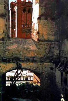Кёнигсберг. Вид на главный почтамт из разрушенного замка после английской бомбардировки в августе 1944 года. Фото 1944 года.