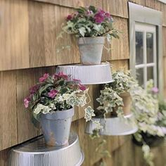 I love this display.  It would be a great way to add life to a blank outdoor wall.