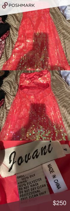 Jovani prom dress Sequenced pink preowned say small gorgeous prom dress in excellent condition can't guarantee this came from a smoke free home Jovani Dresses Backless