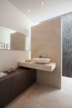Contemporary Master Bathroom with Wood counters, Crema Marfil, Marble, Custom Mirrors, Master bathroom, Flush, Vessel Sink
