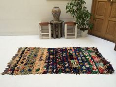 Morocan rug, Azilal Rug Azilal 2.8ftx6.1ft Moroccan 100% Authentic Berber Boucherouite Carpet Rug Wool Beni ourain Ourain Vintage moroccan