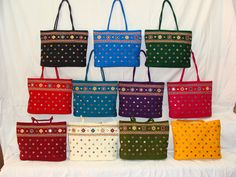 Shoulder  bag. Patch work and mirror/pearls  works made on cotton . Available in 11 colors.