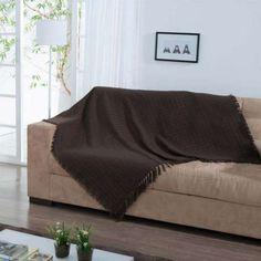 Manta para Sofá Italiana 140x200 Ráfia 2444 - Marrom - 100% algodão - Mobly - R$ 90