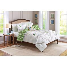 Bedding Beautiful White Natural Flowers DeBetter Homes And Gardens Tree Top 5 Piece Bedding Comforter Set Featured With Decorative Printable Pillow Shams Reversible Green And White Sakura Duvet Cover Comfort Bed Sets
