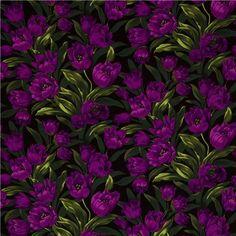 Michael Miller fabric Baby Tulips purple tulips flower - Flower ...
