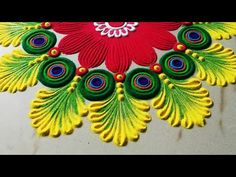 Very easy and attractive multicolored kolam for festivals Easy Rangoli Designs Diwali, Indian Rangoli Designs, Simple Rangoli Designs Images, Rangoli Designs Latest, Rangoli Designs Flower, Free Hand Rangoli Design, Rangoli Border Designs, Small Rangoli Design, Colorful Rangoli Designs