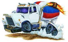 Muscle Trucks Cartoon Drawings   Details about Mack Cement Truck Muscle Car Cartoon Art Tshirt FREE
