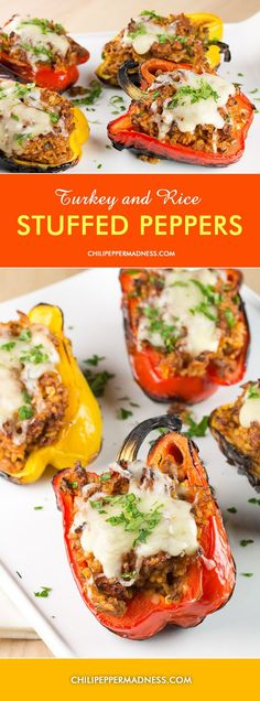 Grilled Turkey and Rice Stuffed Bell Peppers from Chili Pepper Madness