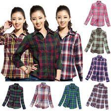 Fashion Women Button Down Casual Lapel Plaids Flannel Shirts Tops Blouse