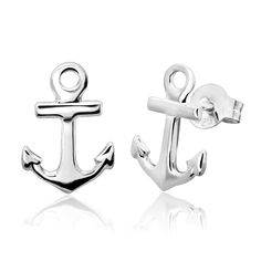 Sterling Silver Anchor Stud Earrings -- Hope you actually like our image. (This is our affiliate link) Sterling Silver Anklet, Silver Anklets, Women's Anklets, Anchor Earrings, Pearl Earrings, Amazon Fulfillment Center, Jewelry Companies, Metal Stamping, Designer Earrings