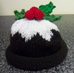 Hand knitted Christmas Pudding Hat by KnittingforEthel on Etsy Christmas Hat, Christmas Knitting, Knitting For Kids, Hand Knitting, Christmas Pudding, Crochet Ideas, Hats, Awesome, How To Make