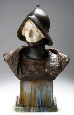Joan of Arc, c. 1904, ceramic bust by Friedrich Goldscheider, 62cm H.