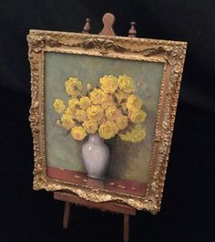 "Miniature Artisan Signed Paul Saltarelli Original Oil Painting  ""Yellow Roses"""